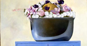 Bowl of Flowers on a Blue Table